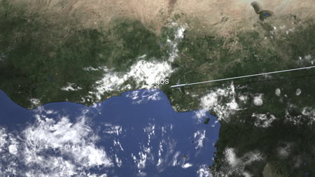 Route of a commercial plane flying to Lagos, Nigeria on the map, 3D rendering Stock Photo