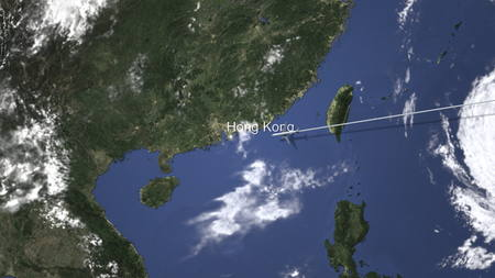 Route of a commercial plane flying to Hong Kong, China on the map, 3D rendering