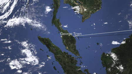 Commercial plane arrives to George town, Malaysia, 3D rendering Standard-Bild