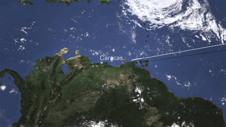 Airplane flying to Caracas, Venezuela on the map, 3D rendering