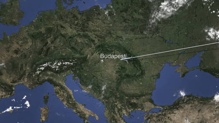 Commercial plane arrives to Budapest, Hungary, 3D rendering