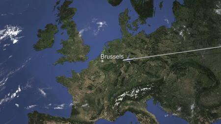 Airplane flying to Brussels, Belgium on the map, 3D rendering 版權商用圖片