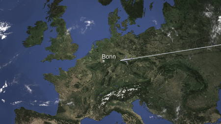 Airplane flying to Bonn, Germany on the map, 3D rendering