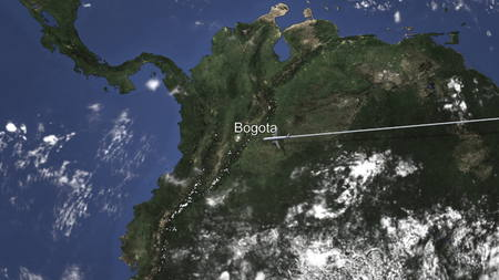 Route of a commercial plane flying to Bogota, Colombia on the map, 3D rendering