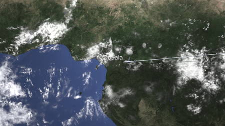 Airplane flying to Douala, Cameroon from east, 3D rendering