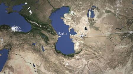 Plane arrives to Baku, Azerbaijan from east, 3D rendering Stock fotó