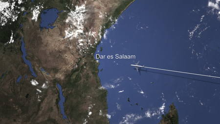 Airliner flying to Dar es Salaam, Tanzania from east, 3D rendering Imagens