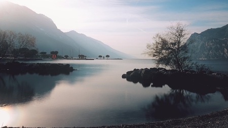 Lake Garda northern shore and surrounding mountains, Italy