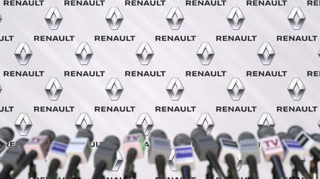 Press conference of RENAULT, press wall with logo and microphones, conceptual editorial 3D rendering