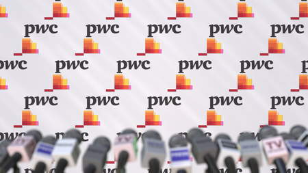 Media event of PWC, press wall with logo and microphones, editorial 3D rendering Editorial