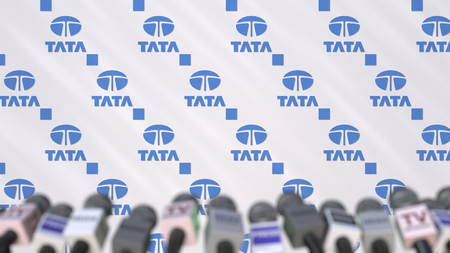TATA company press conference, press wall with logo and mics, conceptual editorial 3D rendering