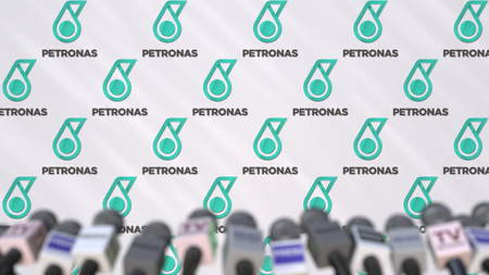 Media event of PETRONAS, press wall with logo and microphones, editorial 3D rendering