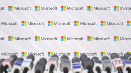 News conference of MICROSOFT, press wall with logo as a background and mics, editorial 3D rendering