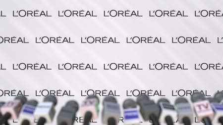 Press conference of LOREAL, press wall with logo and microphones, conceptual editorial 3D rendering Sajtókép
