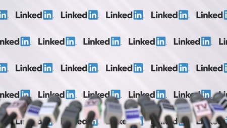 LINKEDIN company press conference, press wall with logo and mics, conceptual editorial 3D rendering Editorial