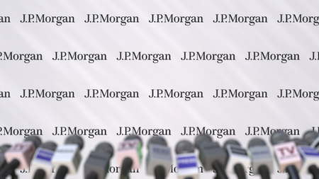 Media event of JPMORGAN, press wall with logo and microphones, editorial 3D rendering