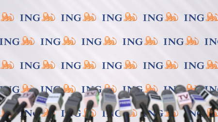 Media event of ING, press wall with logo and microphones, editorial 3D rendering Editorial
