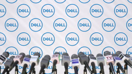 News conference of DELL, press wall with logo as a background and mics, editorial 3D rendering