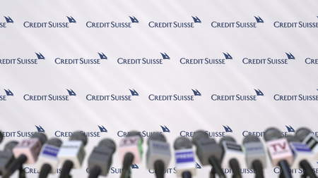 CREDIT SUISSE company press conference, press wall with logo and mics, conceptual editorial 3D rendering Editorial