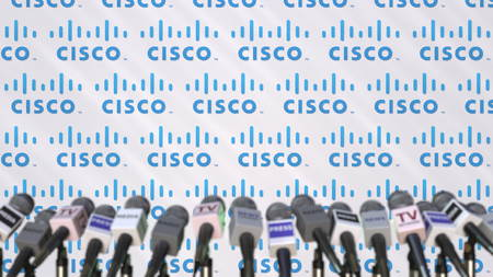 Media event of CISCO, press wall with logo and microphones, editorial 3D rendering
