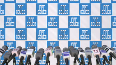 CHINA STATE CONSTRUCTION company press conference, press wall with logo and mics, conceptual editorial 3D rendering