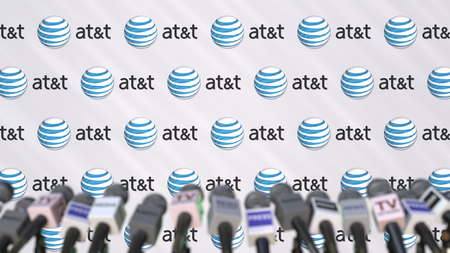 Media event of ATT, press wall with logo and microphones, editorial 3D rendering Editorial