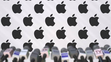 Press conference of APPLE, press wall with logo and microphones, conceptual editorial 3D rendering