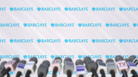 Media event of BARCLAYS, press wall with logo and microphones, editorial 3D rendering Редакционное
