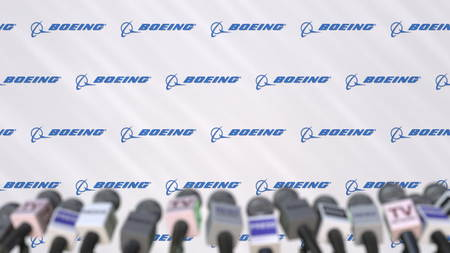 News conference of BOEING, press wall with logo as a background and mics, editorial 3D rendering