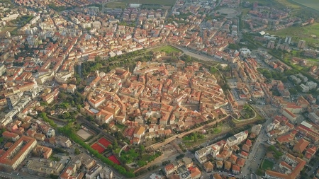 Vue aérienne de la ville en forme d'étoile de Grosseto. Toscane, Italie