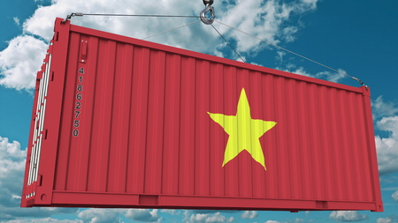 Container with flag of Vietnam. Vietnamese import or export related conceptual 3D rendering