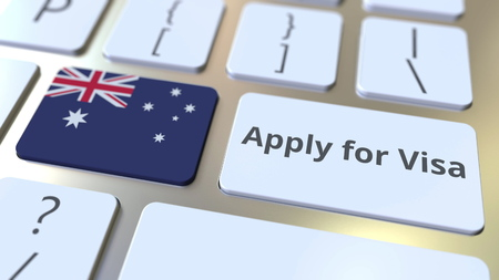 APPLY FOR VISA text and flag of Australia on the buttons on the computer keyboard. Conceptual 3D rendering 스톡 콘텐츠