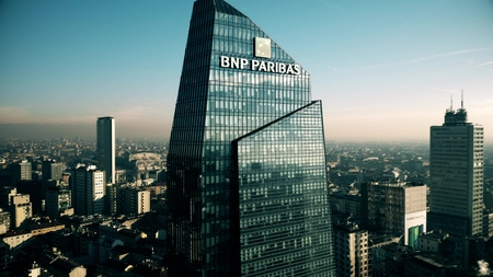 MILAN, ITALY - JANUARY 5, 2019. Aerial view of BNP Paribas bank office in the Diamond Tower or Torre Diamante