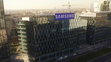 MILAN, ITALY - JANUARY 5, 2019. Aerial view of Samsung District store