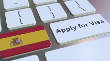 APPLY FOR VISA text and flag of Spain on the buttons on the computer keyboard. Conceptual 3D rendering