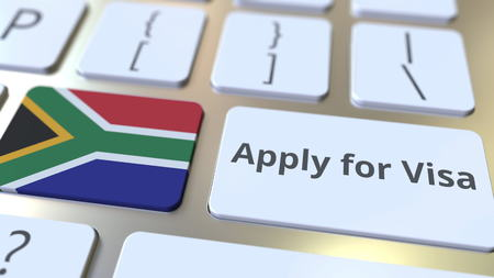 APPLY FOR VISA text and flag of South Africa on the buttons on the computer keyboard. Conceptual 3D rendering