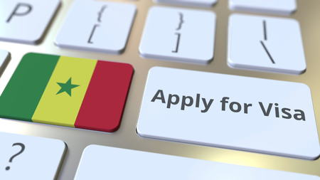 APPLY FOR VISA text and flag of Senegal on the buttons on the computer keyboard. Conceptual 3D rendering