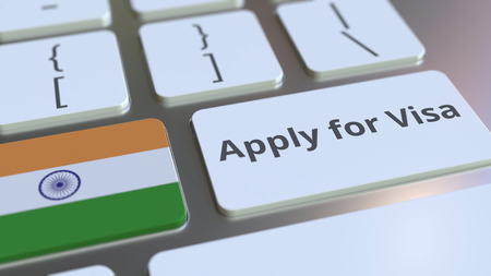 APPLY FOR VISA text and flag of India on the buttons on the computer keyboard. Conceptual 3D rendering