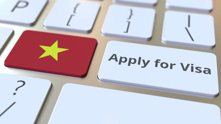 APPLY FOR VISA text and flag of Vietnam on the buttons on the computer keyboard. Conceptual 3D rendering