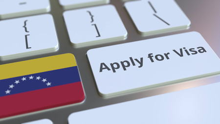 APPLY FOR VISA text and flag of Venezuela on the buttons on the computer keyboard. Conceptual 3D rendering 版權商用圖片