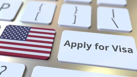 VISUM ANTRAGEN Text und Flagge der Vereinigten Staaten auf den Tasten auf der Computertastatur. Konzeptionelles 3D-Rendering