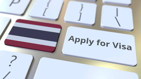 APPLY FOR VISA text and flag of Thailand on the buttons on the computer keyboard. Conceptual 3D rendering