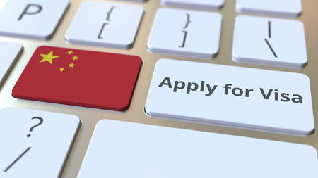 APPLY FOR VISA text and flag of China on the buttons on the computer keyboard. Conceptual 3D rendering