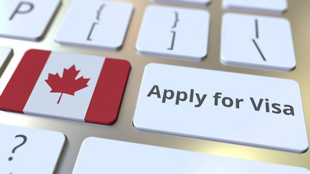 APPLY FOR VISA text and flag of Canada on the buttons on the computer keyboard. Conceptual 3D rendering Stockfoto