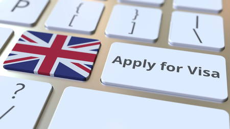 APPLY FOR VISA text and flag of Great Britain on the buttons on the computer keyboard. Conceptual 3D rendering 스톡 콘텐츠