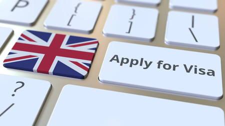 DEMANDEZ UN VISA texte et drapeau de la Grande-Bretagne sur les boutons du clavier de l'ordinateur. Rendu 3D conceptuel Banque d'images