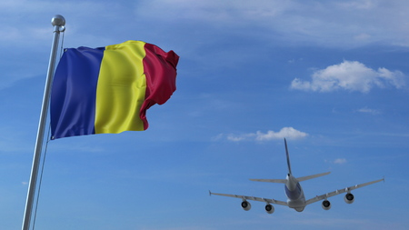 Commercial airplane landing behind waving Romanian flag. Travel to Romania conceptual 3D rendering Фото со стока
