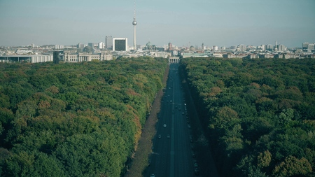 View to the most visited Berlin landmarks: Brandenburg Gate, Berliner dom and Television Tower, Germany