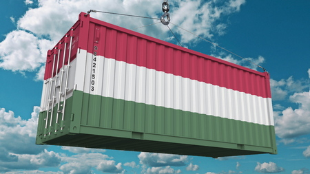 Loading container with flag of Hungary. Hungarian import or export related conceptual 3D rendering