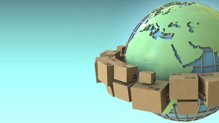 Cartons rotate around the planet, Europe and Africa emphasized. Conceptual 3D rendering